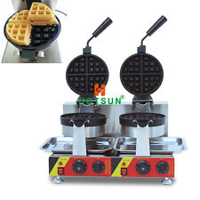 Commercial Non-stick Electric Dual Rotating Belgian Liege Waffle Maker Iron Mach