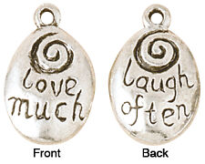 Blue Moon Silver Plated Metal Charms-Love Much-Laugh Often 5/Pkg 766435621660
