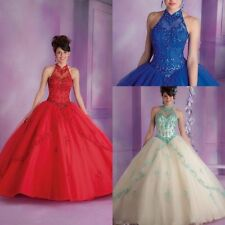 Vintage Ball Gown Lace Quinceanera Dresses Beads Prom Party Pageant Evening Gown