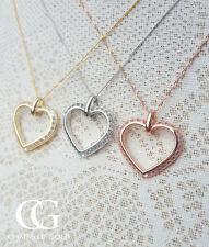 """Fine 9ct Gold & Cubic Zirconia Open Heart Necklace in Rose, Yellow or White 18"""""""