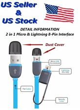 2 in 1 USB Lightning Data Sync / Charger Cable for iPhone 5, 6 & Micro USB Port