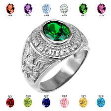 Fine .925 Sterling Silver US Army Men's CZ Birthstone Ring