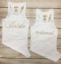 "RHINESTONE ""BRIDESMAID OR BRIDE""  TANK TOP SHIRT PERFECT GIFT GOLD RHINESTONES"