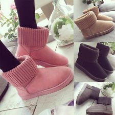 Women's Suede Knit Thicken Ankle Snow Wool Winter Warm Short Boots Flat Shoes