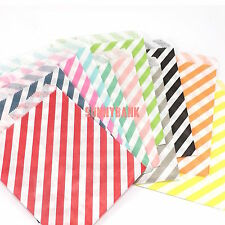50pcs Striped Pape Lolly Candy Buffet Bags Wedding Party Food Packaging Bag