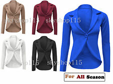 UK Women Crop Frill Shift Slim Fit Blazer Ladies Peplum Jacket Coat Plus Size sL