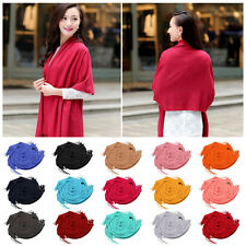 Fashion Womens Winter Warm Cashmere Silk Solid Long Pashmina Shawl Wrap Scarf RE