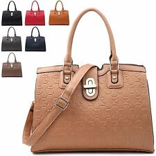 Ladies Designer Faux Leather Embossed Handbag Shoulder Bag Tote Bag MQQ3023