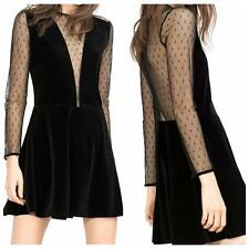 Women Sexy Lace Long Sleeve Perspective Deep V-Neck Black Clubwear Mini Dress