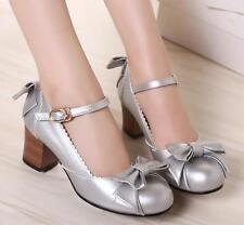 Ladies Lolita Ankle Strap Kitten low heels Preppy Casual Bow knot Pumps Shoes #