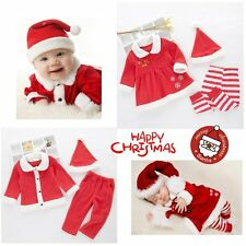 Baby Kids Boy Girl First Christmas Santa Costume Jumper Dress Outfit Clothes Set