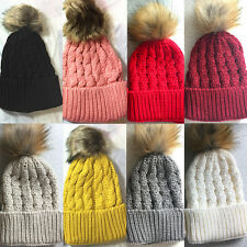 Winter Baby Kids Children Pompom Ball Hat Crochet Warm Cap Knitted Wool Hat