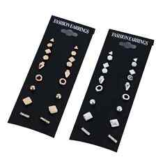 9Pairs/Set New Wwomen Punk Square Triangle Round Crystal Stud Earrings Jewellery