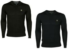 MENS NEW VOI KNITWEAR CREW NECK JUMPER DESIGNER SWEATER IN BLACK COLOURS SMALL S