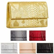 Ladies Patent Snakeskin Envelope Clutch Bag Snake Skin Evening Handbag KZ608