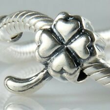 St Patricks Day Jewellery 925 Sterling Silver Lucky Four Leaf Clover Heart Bead.