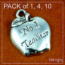 No. 1 Teacher Apple charm ~PACK of 1/4/10~ number one thank you school gift