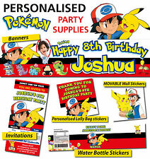 Personalised Pokemon Birthday Party Banner and Decorations