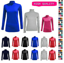 LADIES LONG SLEEVE POLO NECK TOP WOMENS TURTLE NECK PLAIN Jumper 6-22 polonk