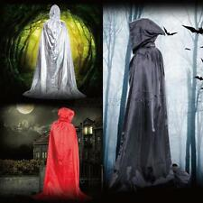 Vintage Hooded Long Cloak Cape Halloween Fancy Dress Robe Wedding Witch Wicca