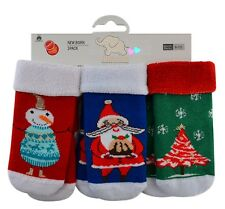 Christmas baby socks boys  girls 3 pairs soft terry thermal 90% Cotton rich