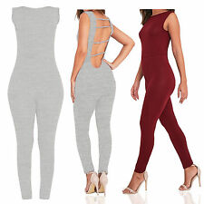 LADIES WOMENS SEXY ONE PIECE NEW SLEEVELESS BACK STRAP JUMPSUIT PLAYSUIT