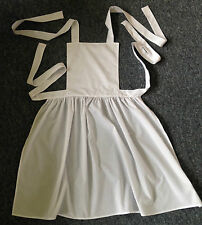 Handmade Ladies White Victorian Edwardian WWI Style Maid Full Apron, size 6-28