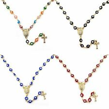 14k Gold Plated Evil Eye Bead Rosary with Guadalupe Cross Charm 20""