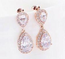 Clear Crystal Silver Gold Rose Gold Plated Teardrop Bridal Wedding Earrings