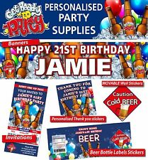 Personalised Beer Birthday Party Banners Decorations 21st, 30th, 40th, 50th,