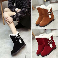 NEW Women's Winter Snow Boots Fur Suede Warm Moccasins Plush Casual Flats Shoes