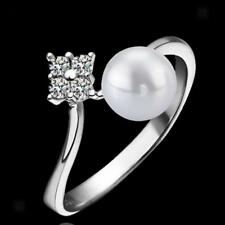 Elegant Crystal Pearl Ring Bridal Engagement Promise Ring Gift Silver US Size6-9