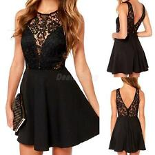 Back Open Lace Black Bodycon Sexy Women Mini Dress Slim Evening Party Dress