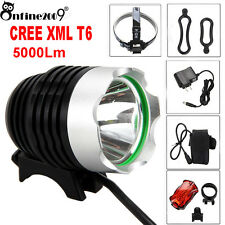 Rechargeable 5000Lm CREE XML T6 LED Bicycle Lamp Bike Headlight+ Rear Light LOT