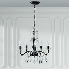5 Light Crystal Swag Chandelier Shabby Chic Glass Ceiling Fixture Lighting Home