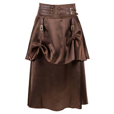 Brown Vintage Steampunk Skirt Victorian Gothic High Waist Long Corset Skirt