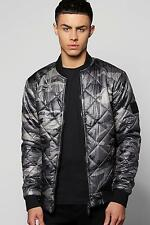 Boohoo Mens Camo Quilted Padded Bomber