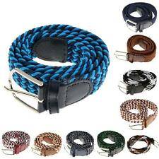 Unisex Braided Woven Elastic Stretch Belt with Matching Leather Covered Buckle