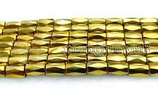 "Small 5*8mm Gold column Faceted Hematite Magnetic Loose Beads strand 15"" -los708"