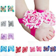 New Newborn Baby Infant Girl Barefoot Foot Elastic Flower Band Sandal Sock Shoes