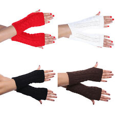 New Women Winter Wrist Arm Hand Warmer Knitted Long Fingerless Gloves Mitten Hot
