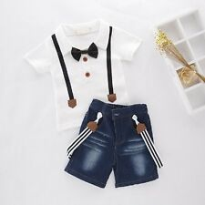 Baby Boy Wedding Tuxedo Birthday Party Top+Jean Overalls Outfit Suit Set Clothes