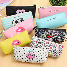 Cute Faux Leather Pencil Case Pen Bag Stationery Pouch School Office Supply