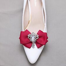 Bow Crystal Wedding Bridal Dangle Shoe Clips,Burgundy,Red,Pink,Black,Ivory,Nude