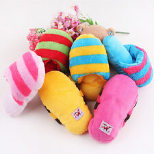 1x Dog Toy Pet Puppy Chew Play Squeaky Squeaker Sound Cute Plush Slipper Shape