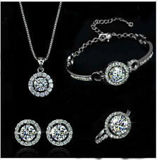 18K White Gold Filled Necklace Earrings Bracelet Ring made w/ Genuine Swarovski