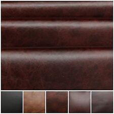 DISTRESSED ANTIQUE AGED BROWN FIRE RETARDANT FAUX LEATHER UPHOLSTERY FABRIC