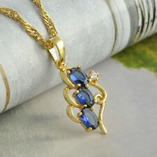 Vintage Real Gold Filled Blue Green Clear CZ Womens Pendant Chain Long necklace
