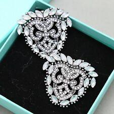 Wedding Bridal Dark Rhinestone Crystal Silver Gold Vintage Style Shoe Clips Pair