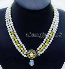 """SALE Small 6-7mm White Round Natural FW pearl 3 strands 18-19"""" necklace-nec6105"""
